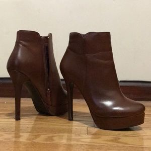Brown leather high heel booties *NW outside*